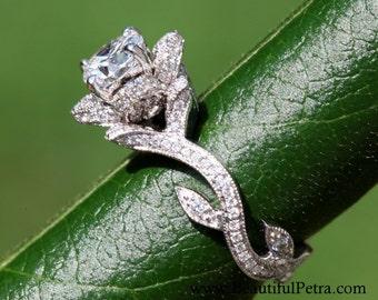 BLOOMING Work Of Art - Milgrain Flower Rose Lotus Diamond Engagement Ring - 18K white gold - fL07 - Patented