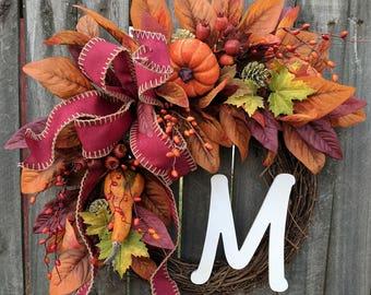 Wreaths fall wreath autumn wreath monogram wreath pumpkin gourd wreath front door wreath fall berries Thanksgiving fall door wreaths