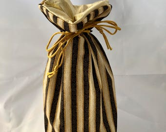 Small Gift Bag - Stripes & Swirlies - Blk/Gold Motif - Black/Gold - Limited Edition Fabric - Fully Lined with Gold Lamé (GBS-22-0153-S-LR2)