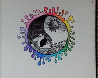 Colorful Yin Yang 8.5x11 Drawing