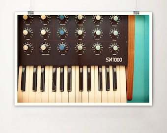 Analog Keyboard Fine Art Print-Vintage Piano Synthesizer Music Retro Mid Century Wholesale