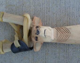 Wooden 3D Hand Carved Deer Head Sling shot real wood
