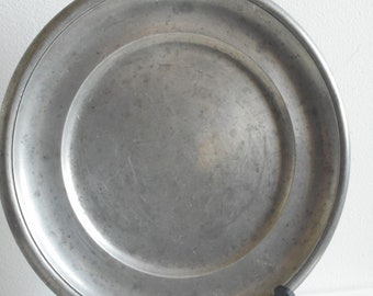 stunning French vintage heavy pewter plate