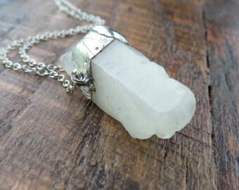 Clear Quartz point necklace-Choose your length-Rough Crystal-Rough Stone-Faceted Quartz necklace-Crystal necklace-clear crystal