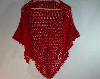 triangle crochet shawl, dark red crochet scarf, cotton wrap