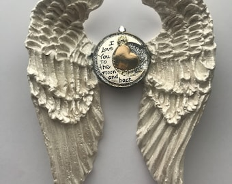 White Angel Wings handmade shabby cottage I love you to the Moon and Back hand sculpted angel wings memorial keepsake sentimental gift