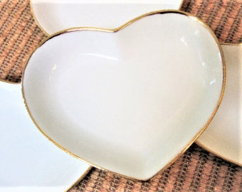 Ring Dish Heart White gold Porcelain Ceramic Pottery Personalized Hand Painted blmm