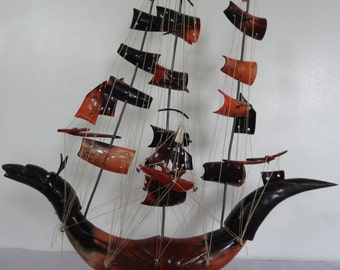 A Beautiful Large Vintage Blood Red OX Horn Dragon Boat / Ship
