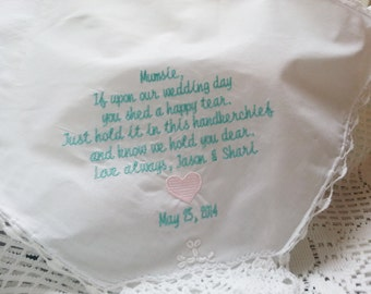 Grandma -Gift to Grandmother-Mom From Bride or Groom Embroidered Wedding Handkerchief