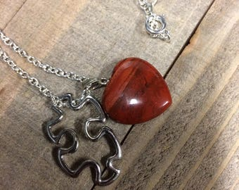 Heart pendant, Puzzle piece necklace, Autism Speaks neckace, Autism awareness, Jigsaw puzzle necklace
