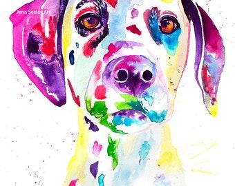 Dalmation watercolor art print, watercolor, dalmation, pet portrait, pet lover, dog, art, pet art, watercolor paint, art deco, colorful dog
