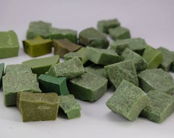 Hand-Cut Mosaic Smalti Greem Mix - 1/2 pound - 25+ pieces - 20 mm x 20 mm