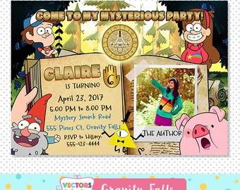Gravity Falls Party Digital Invitation, Gravity Falls Party Invite, Dipper and Mabel Invitation, Gravity Falls Themed Birthday, customized