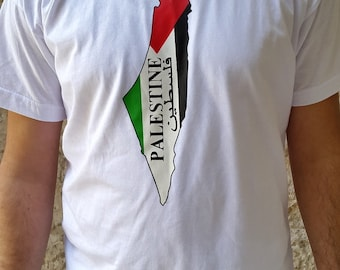 Palestine Map with Flag of Palestine colors