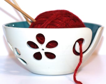 Turquoise flower Yarn Bowl, Yarn Bowl, Knitting Bowl, Crochet Bowl, Turquoise and White Yarn Bowl, Made to Order