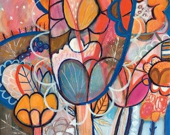 Rain Flower Way/Original Acrylic painting/Modern Blue, Orange Flowers /Colorful Home Decor/Stretched Canvas