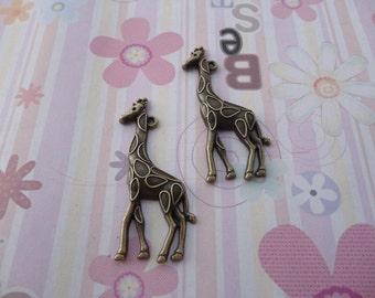 10pcs antique bronze giraffe findings 55x21mm