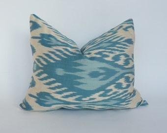 blue ikat cushion // boho ikat pillow // blue silk ikat cushion