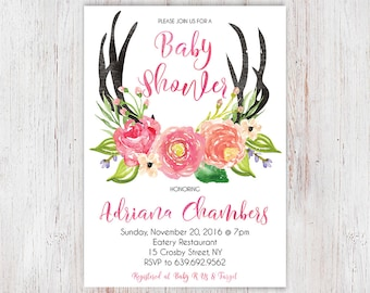 Deer Baby Shower, Antler Baby Shower Invitation, Girl Baby Shower Invitation, Woodland Baby Shower, Boho, Oh Deer, Baby Girl, Tribal 26a