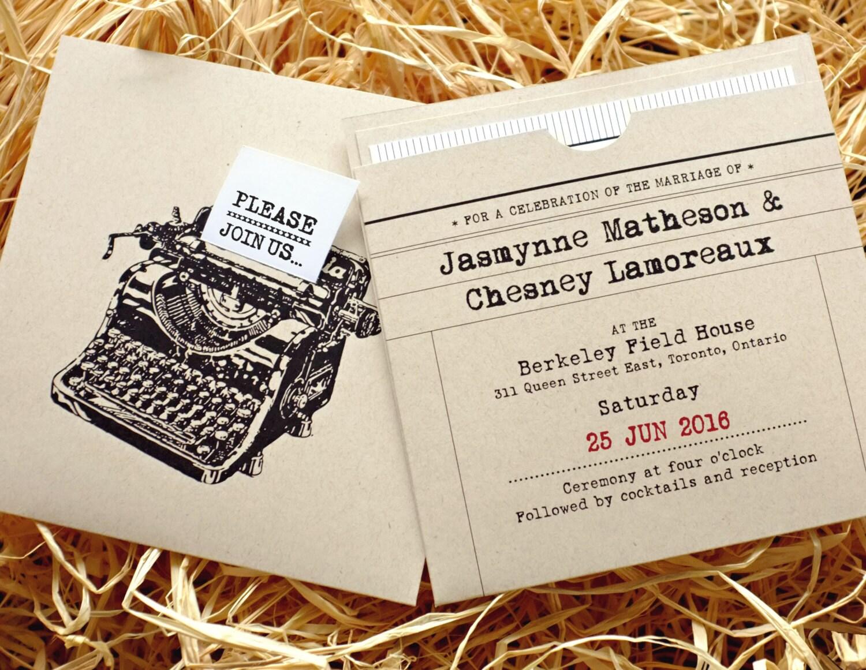 Retro Typewriter Wedding Invitation with insert pocket /