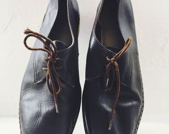 Vintage Handmade shoes - Brown leather - workwear style