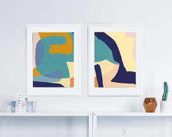 Abstract Print Set, Set of 2 Prints, Abstract Art Print Set, Livingroom Art, Modern Art, Printable art Contemporary Wall Art, 12x16 art