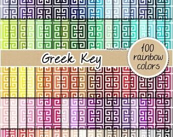 SALE 100 straight greek key digital paper rainbow papers scrapbooking greek key pattern geometric printable 12x12 pastel neutral bright dark