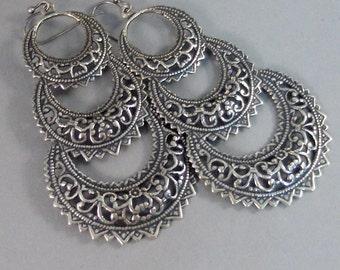 Gypsy Dream,Earrings,Silver Earrings,Antique,Vintage Style,Wedding,Antique Earrings,Boho,Hamsa,Boho Earring,Hoop Earring.valleygirldesign