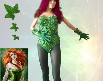 Poison Ivy cosplay costume/ Complete Poison Ivy costume with shoes and eye mask