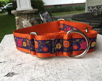 "Olive's Garden on Orange - 1.5"" Martingale Collar"