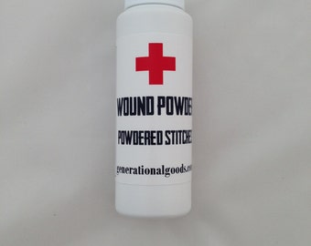 Wound Powder Natural Care for Cuts & Wounds Powdered Stitches First Aid Kit IFAK Herbal Compound Shaker Bottle Camping Backpacking Hiking
