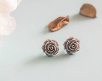 "Earrings ""Dapple"" vintage flower & gray retro"