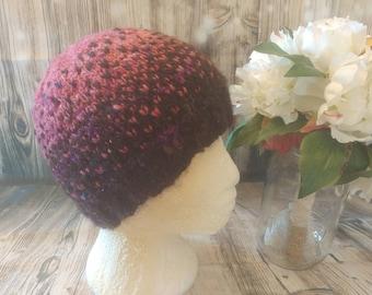 2 tone alpaca beanie, teen, eco friendly yarn, hand spun, hand knit