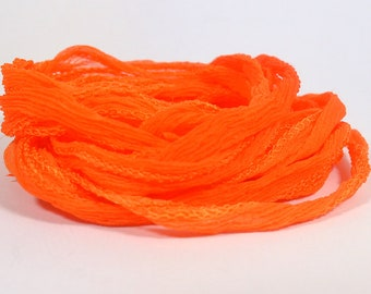 Orange Hand Dyed Silk Ribbons - Fairy Ribbon Style - S2