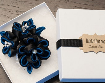 Women Brooch Black and Yale Blue Flowers