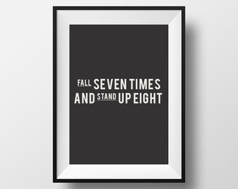 Wall art, home deco, rFall seven times, inspirational,quote, motivational, poster, print, instant download, printable typography, wall decor