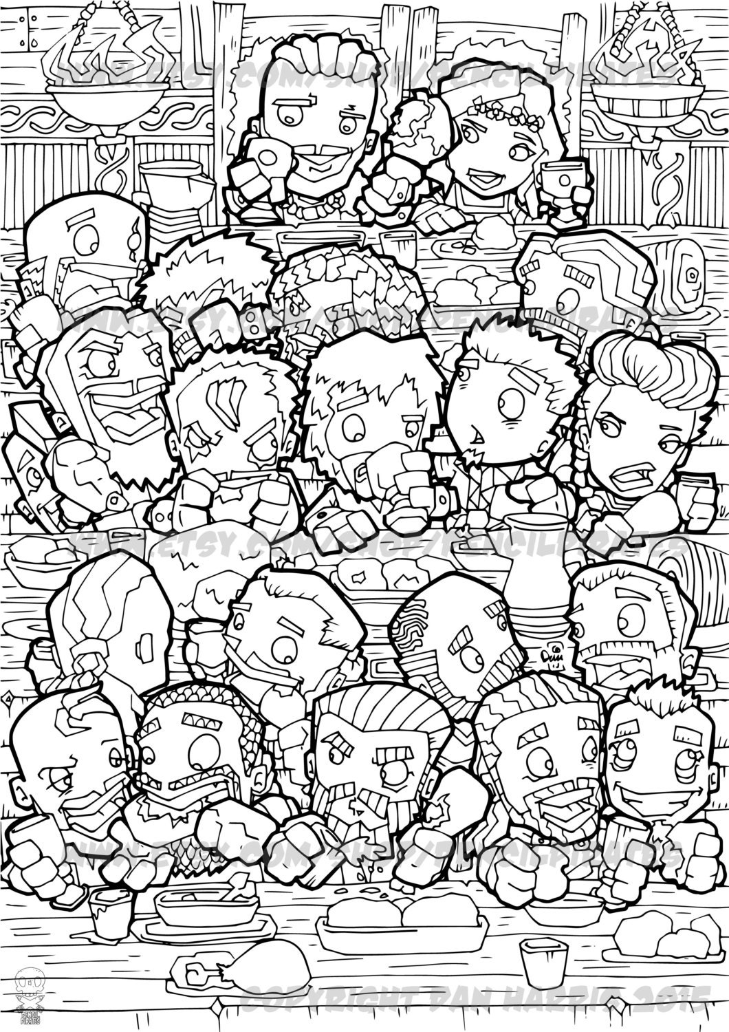 Viking Feast Colouring Page Adult Book One