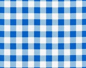 """Remnant Last 2 yards Oilcloth Blue 1"""" Picnic Check"""