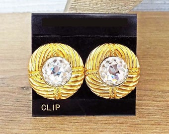 Authentic Chanel Rhinestone Clip On Earrings Super Faceted Crystals 1970s France Signed