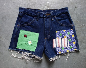 cutoff jeans with custom patchwork size 29-30 from Rustler