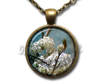 Summer Breeze Flowers Glass Dome Pendant or with Chain Link Necklace NT172