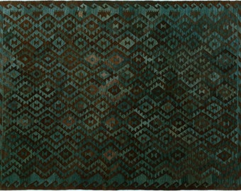 Kilim arya margaret black/teal hand-woven rug (6'0 x 8'0)