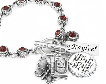 July Birthstone Jewelry - Personalized July Bracelet - Ruby Birthstone - Ruby Crystal - July Birthday Gift
