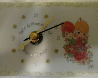 CLEARANCE Vintage Precious Moments by Enesco Two Girls With Flowers Mini Desk Clock 16882 Porcelain Battery Operated    714
