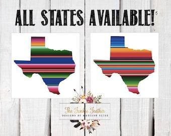 Serape Texas Decal | Serape Decal | Mexican Blanket Decal | Serape State Decal | Cinco De Mayo | Mexican Decal | Serape Yeti Decal | Serape
