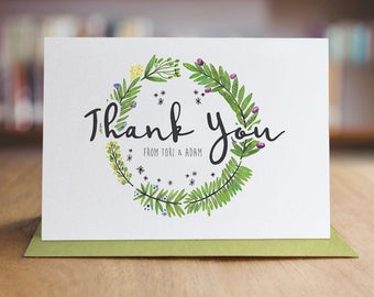 Personalized Thank You Note Card Set /  Wedding Thank You Cards / Set of 10 Folded Shimmer Note Cards - T389