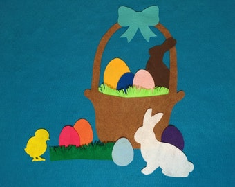 Felt Easter Basket with bunnies and eggs
