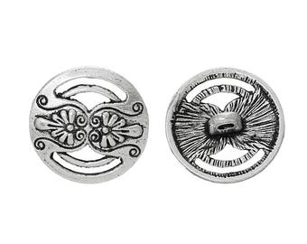 100 buttons, metal, vintage style, antique-style, 17mm, 39458