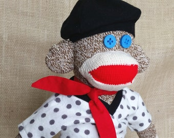 "French Sock Monkey, French Teacher Gift, French Student Gift, Classic Sock Monkey, 18"" Tall"