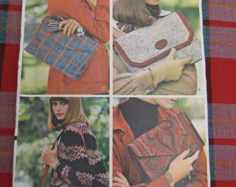 UNCUT Vogue Sewing Pattern #8974 Vintage PURSE Handbag Pattern 4 Different Styles Envelope Clutch Shoulder Bag Crossover Bag